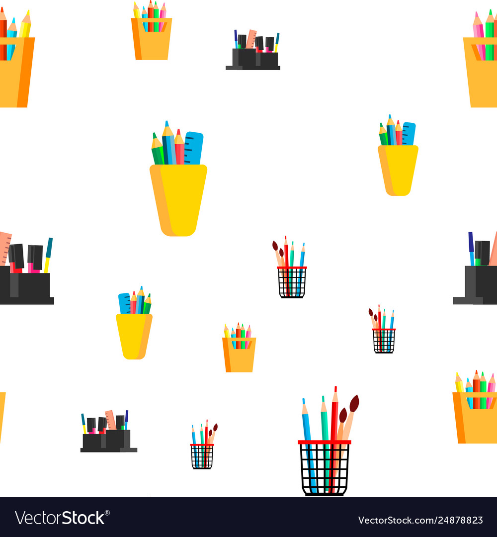 Stationery seamless pattern school