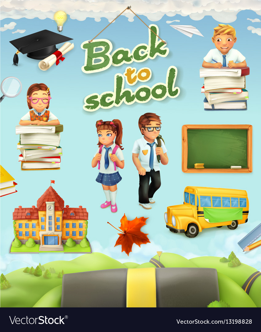 Back to school Education icon set Funny cartoon