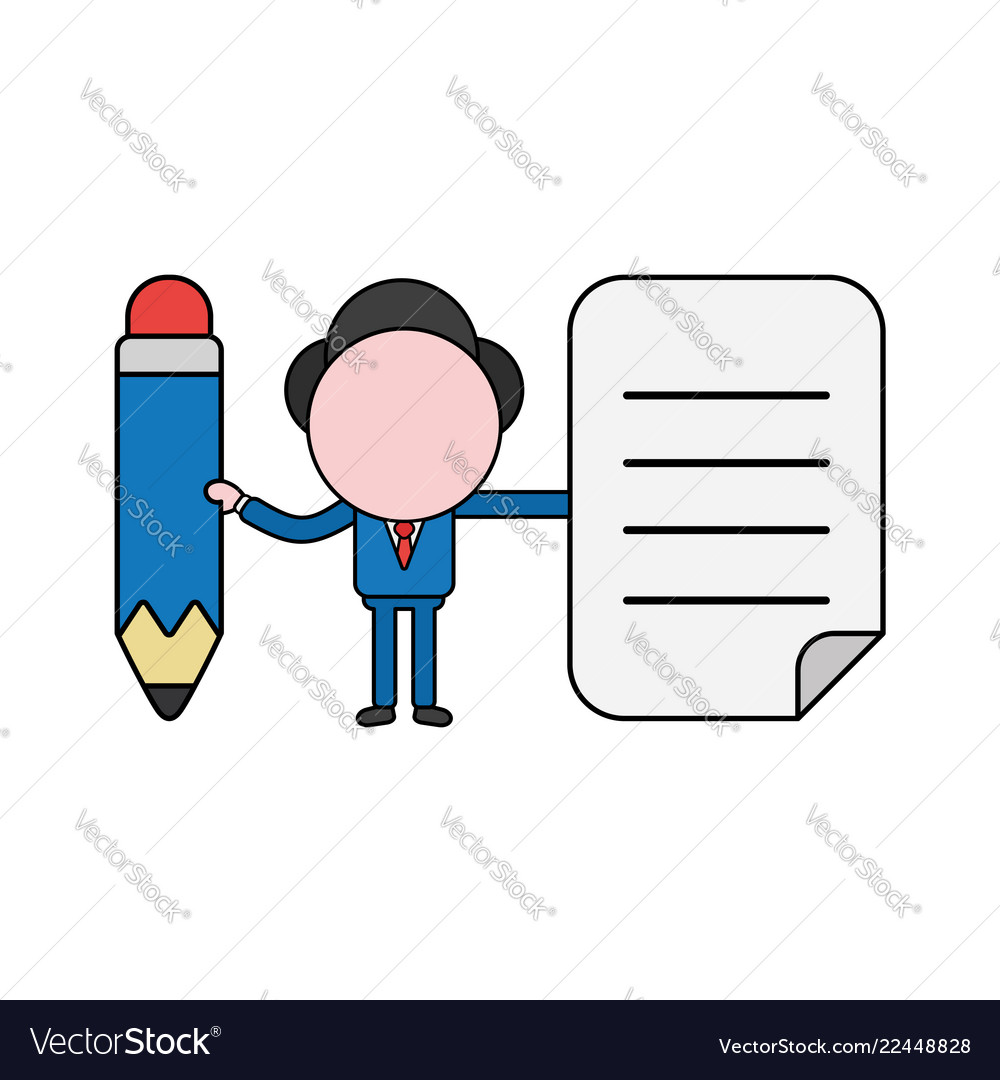 Businessman character holding pencil and written