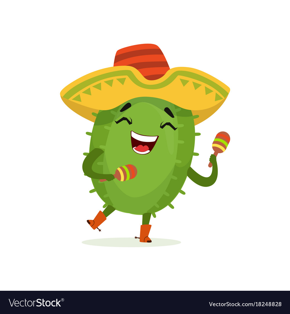 Cute mexican cactus funny plant character in