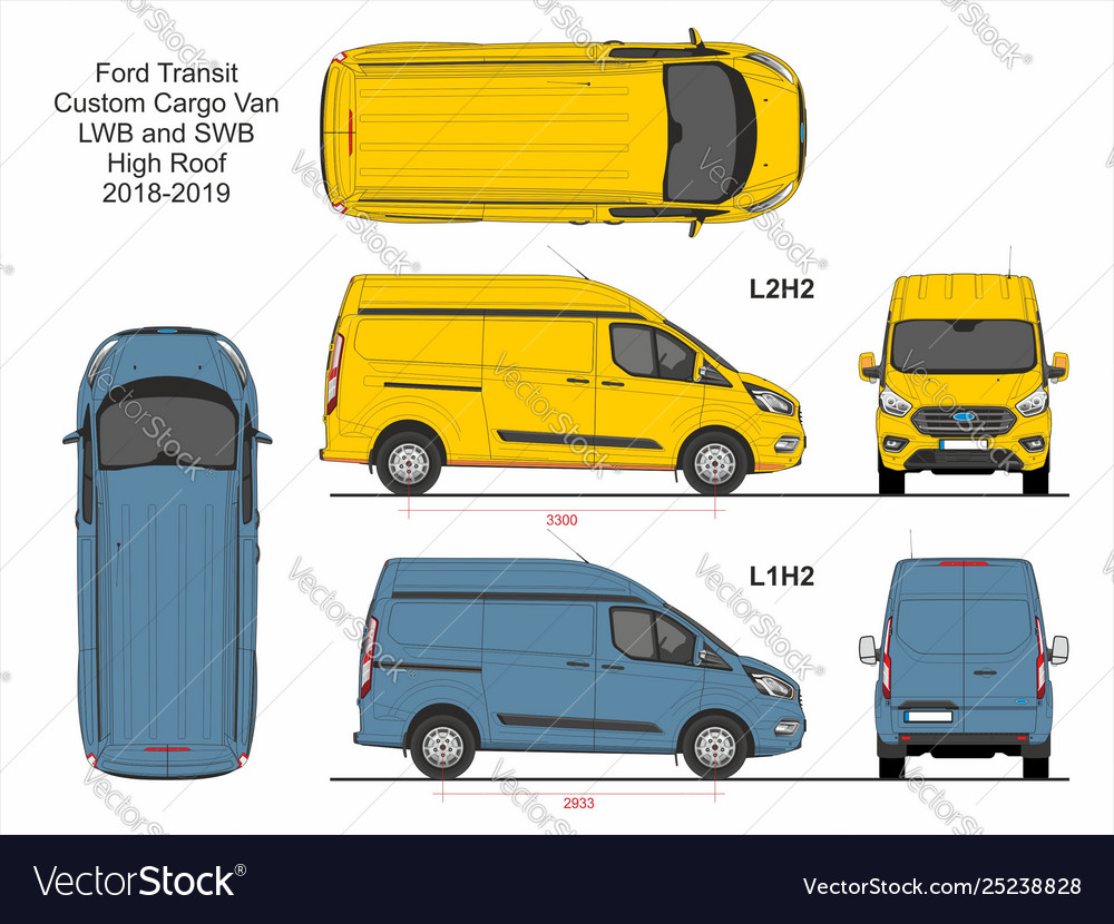 Ford Transit Custom Cargo Van L1h2 And L2h2 2018 Vector Image