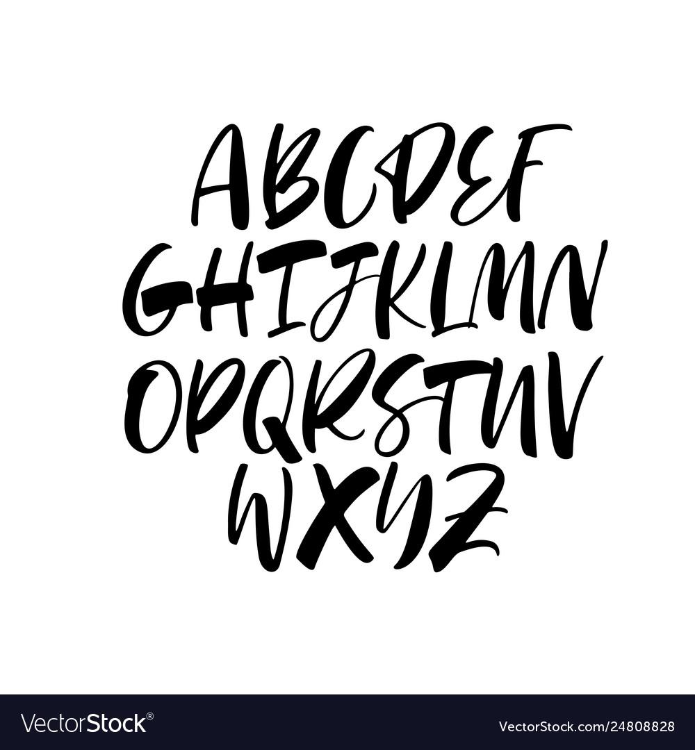 Handwritten calligraphy alphabet typeset