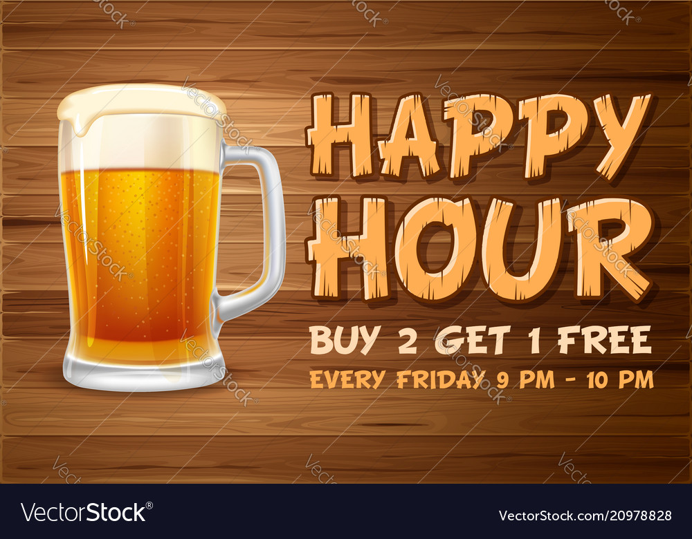 Happy hour design template Royalty Free Vector Image