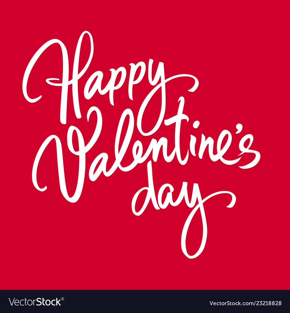 Happy valentines day handwritten lettering white