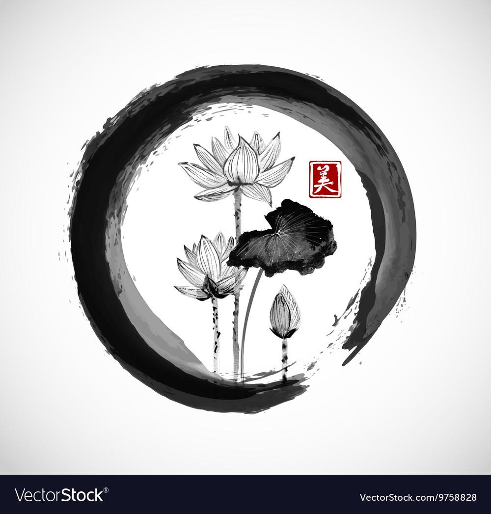 Lotus flowers in black enso zen circle vector image