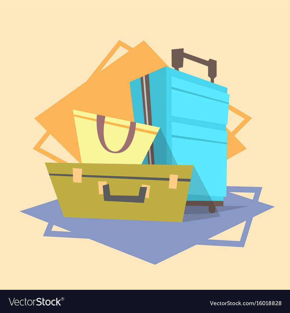 Luggage icon summer sea vacation concept