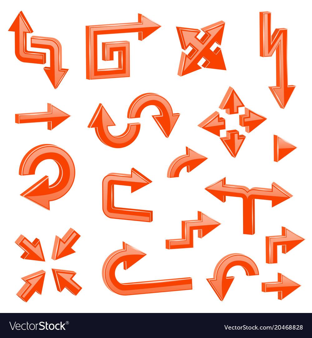 Orange 3d arrows set of different shiny web signs
