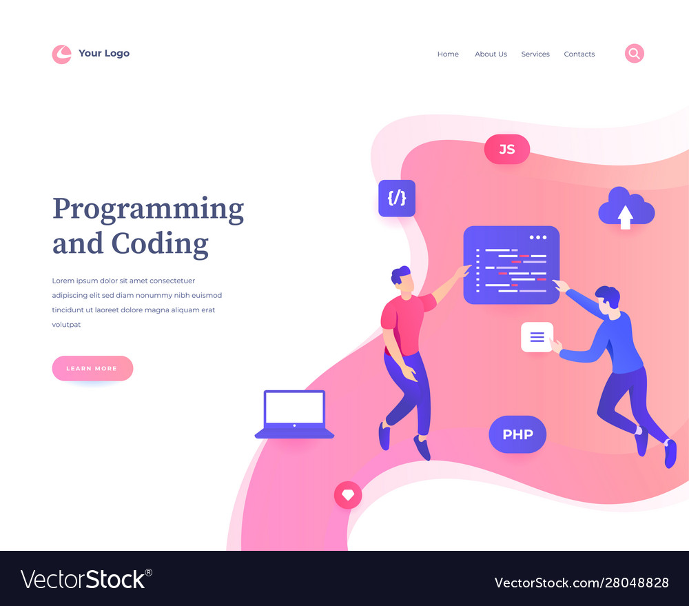 Programming and coding concept workflow flying or