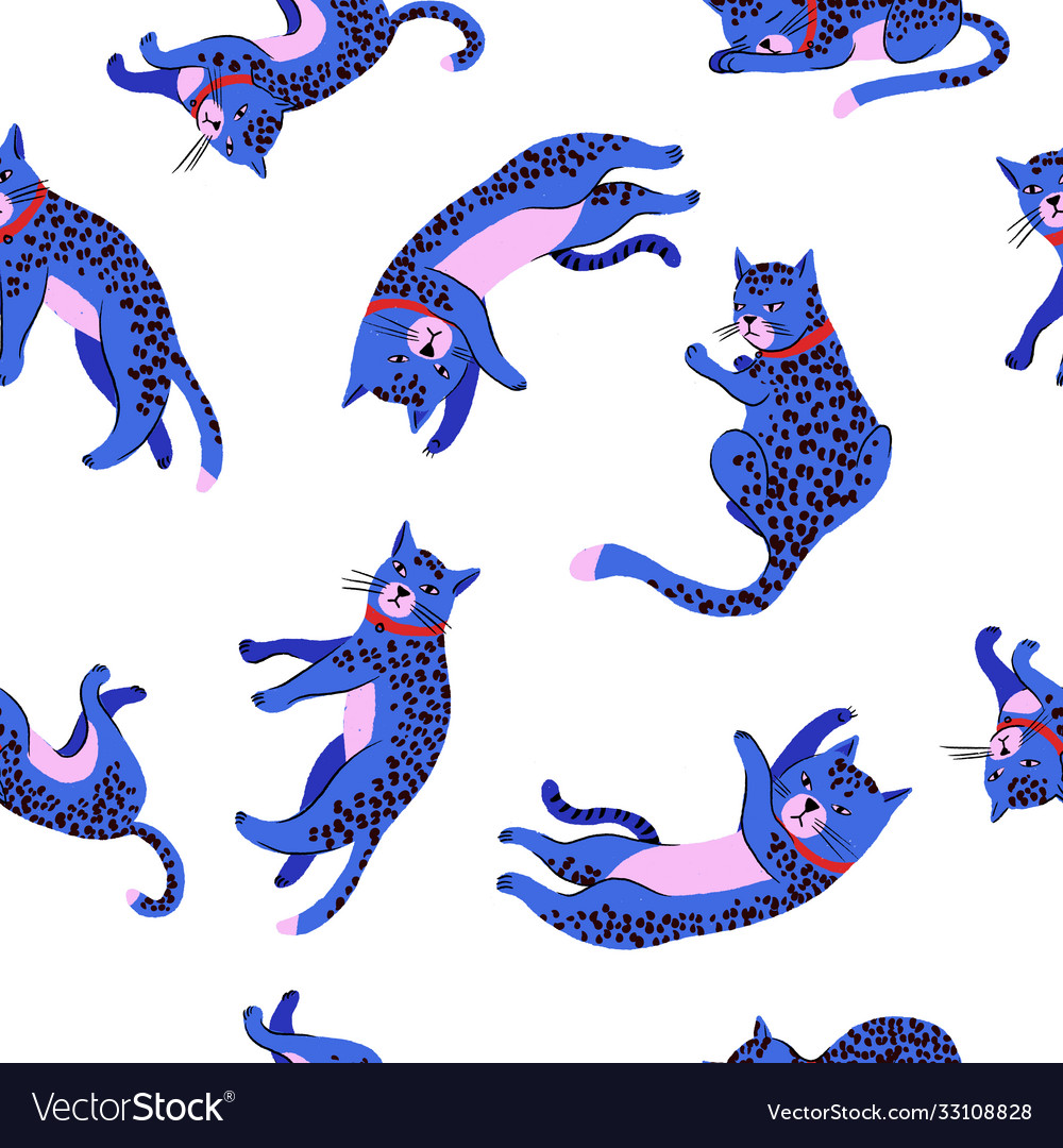 Seamless pattern with blue cats or leopards