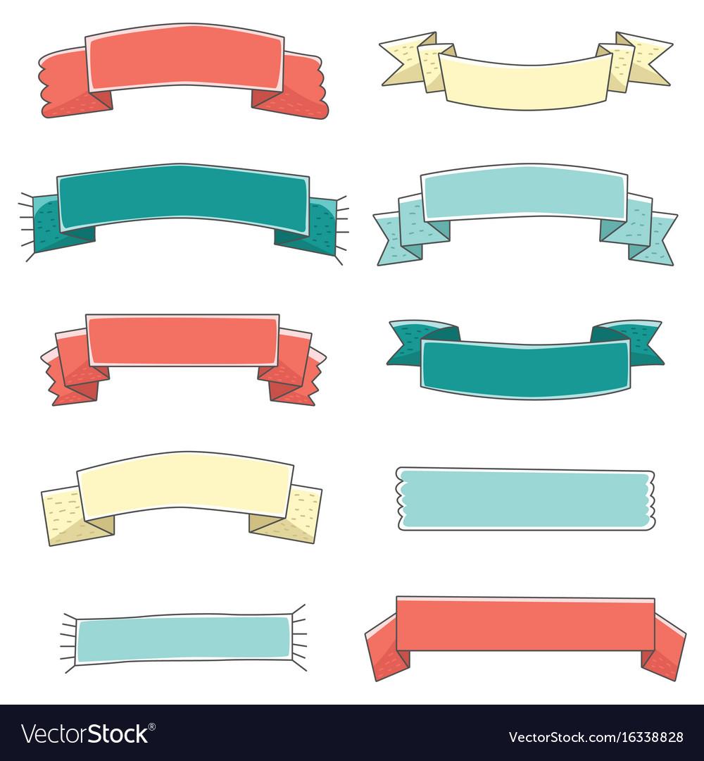 small ribbon banner cute set hand drawn royalty free vector