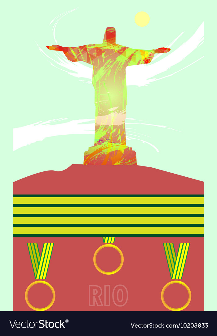 Abstract medal and rio design with statue over lig