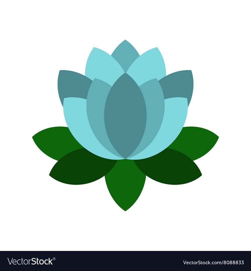 Blue Lotus Flower Icon Flat Style Royalty Free Vector Image