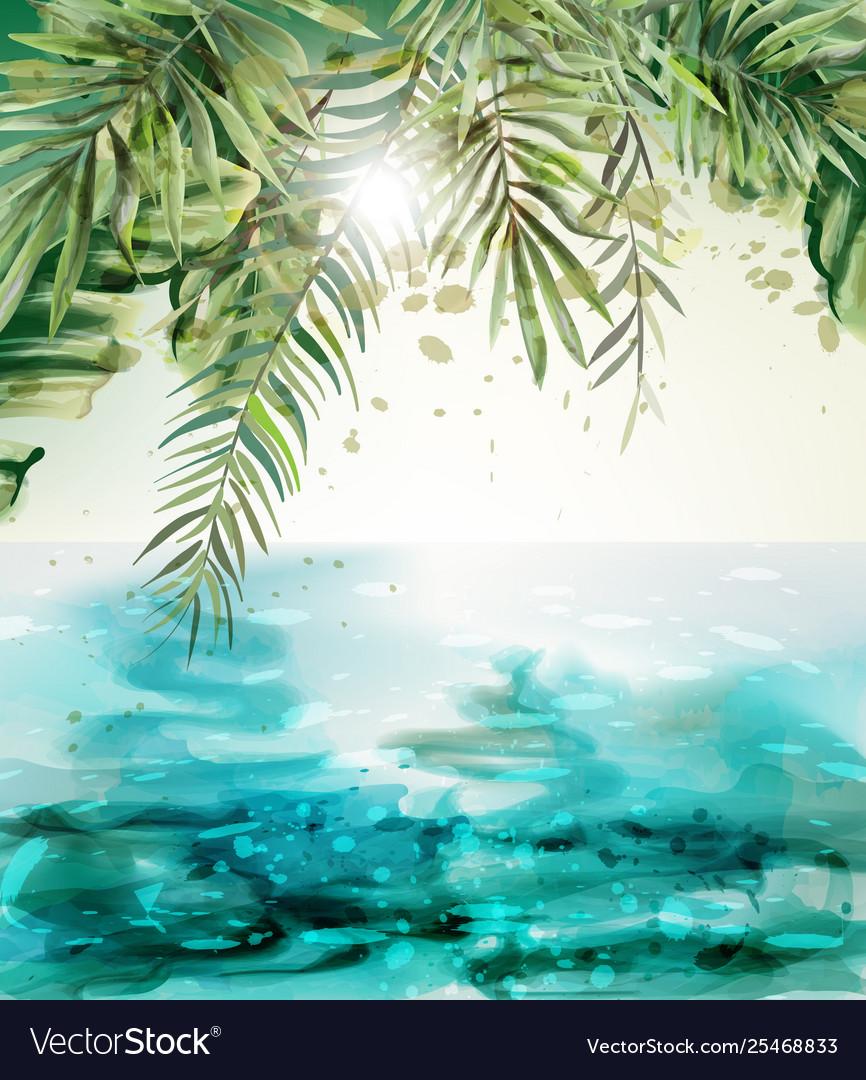 Blue seaside summer tropic card watercolor