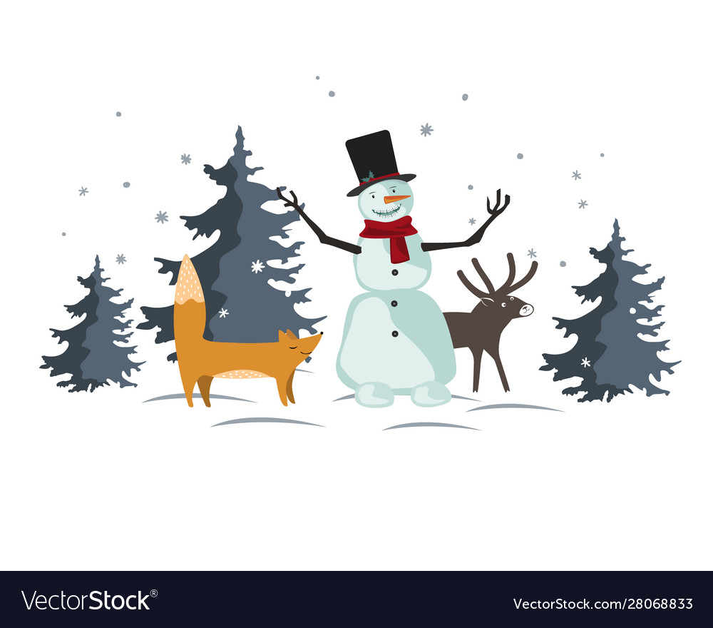 Christmas with funny cartoon forest animals