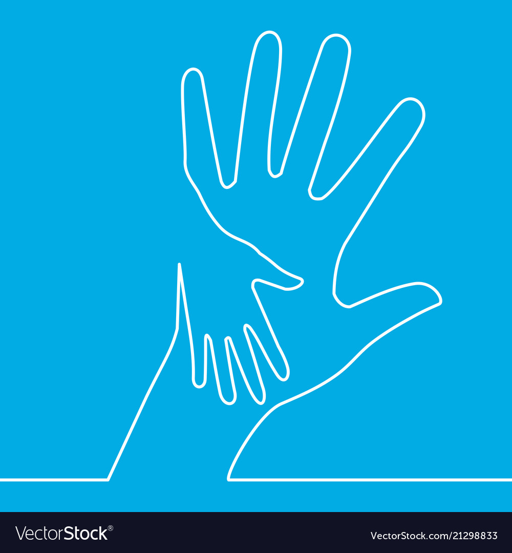 Continuous one line icon helping hands