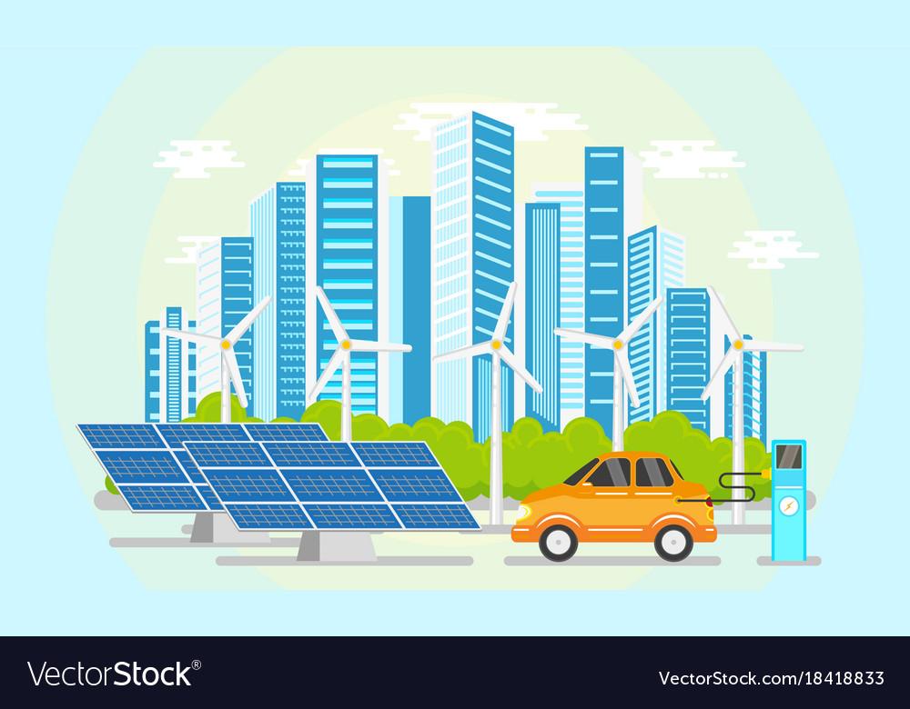 Flat modern city icon concept