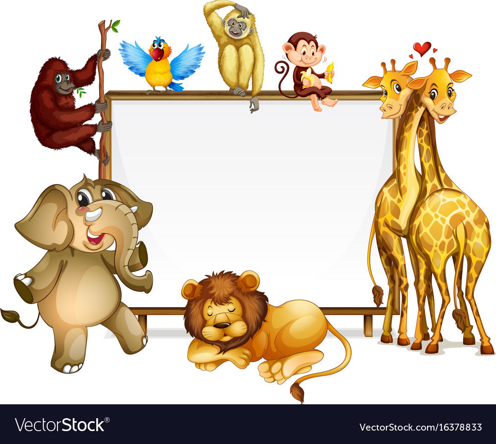 frame template with many wild animals royalty free vector