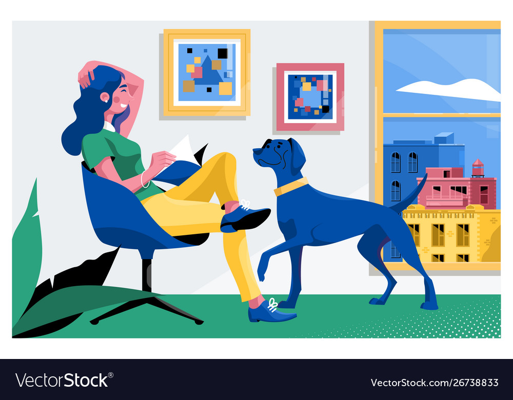 Girl reading a book and dog sitting on the