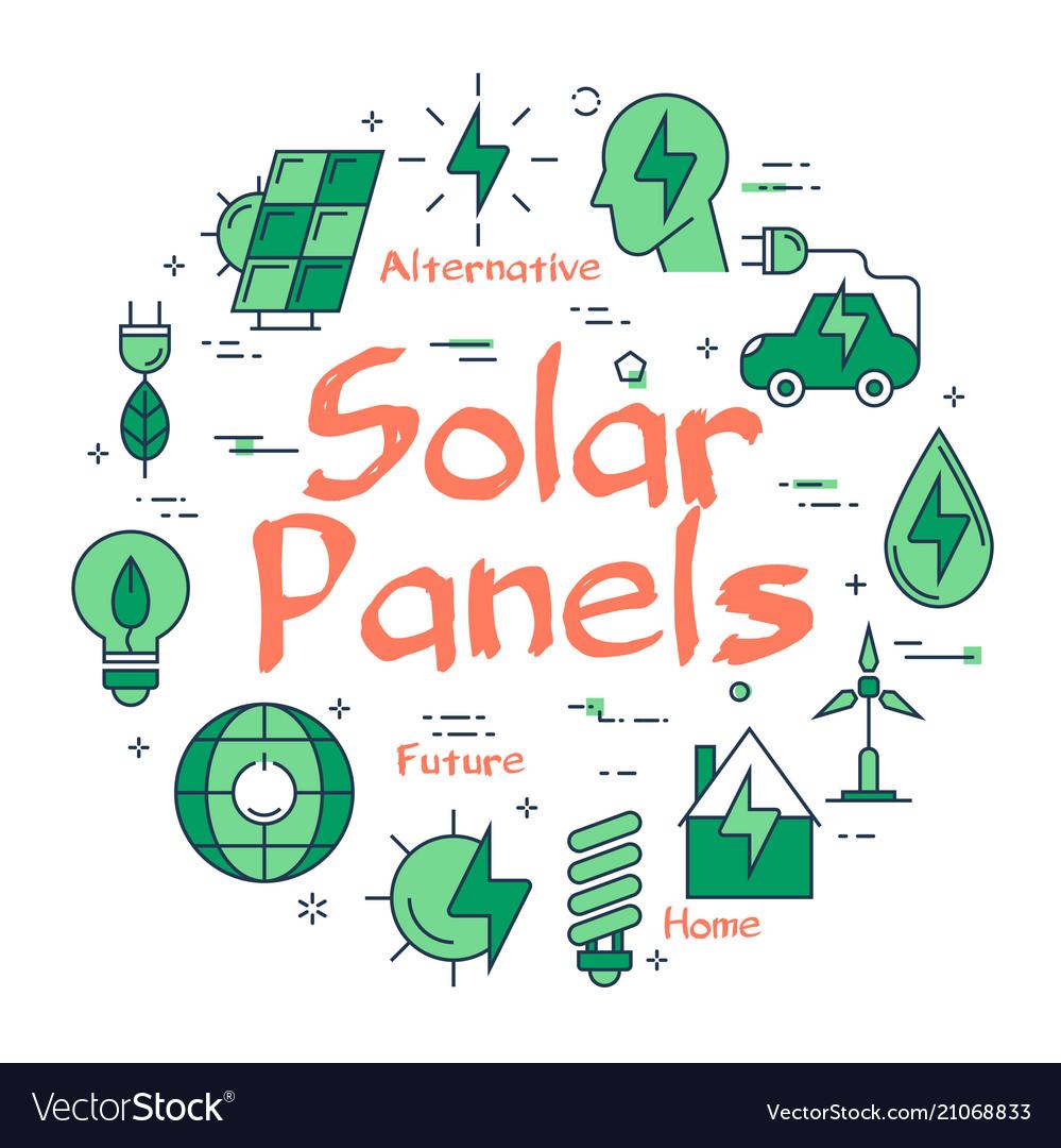 Green eco solar panel concept