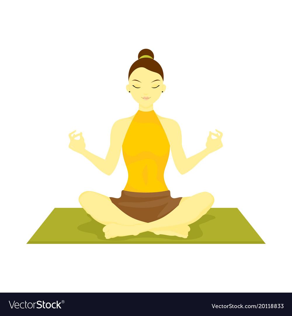 Lotus Pose Yoga Meditation Royalty Free Vector Image