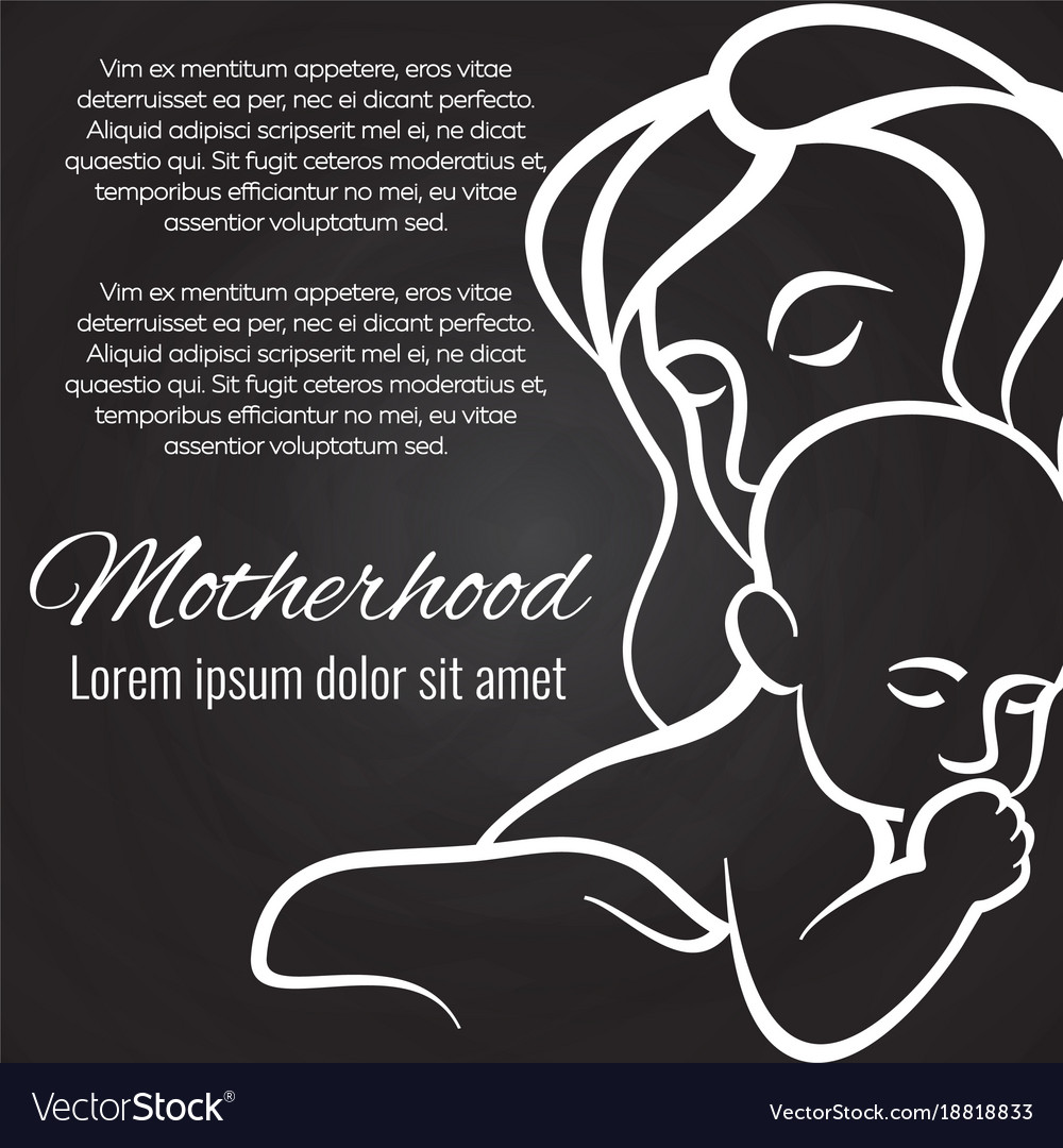 Motherhood chalkboard poster with baby and mother