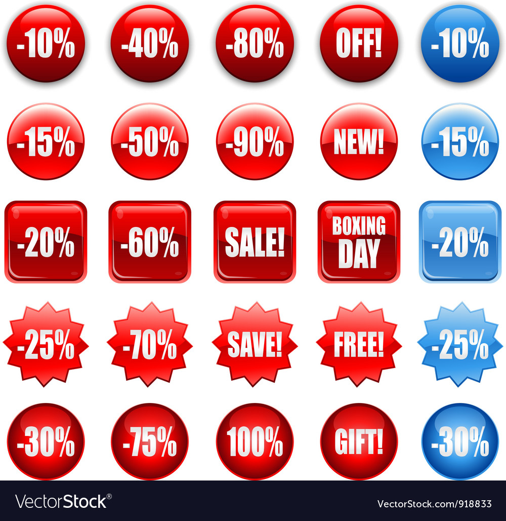 Red shopping sales icons labels tags
