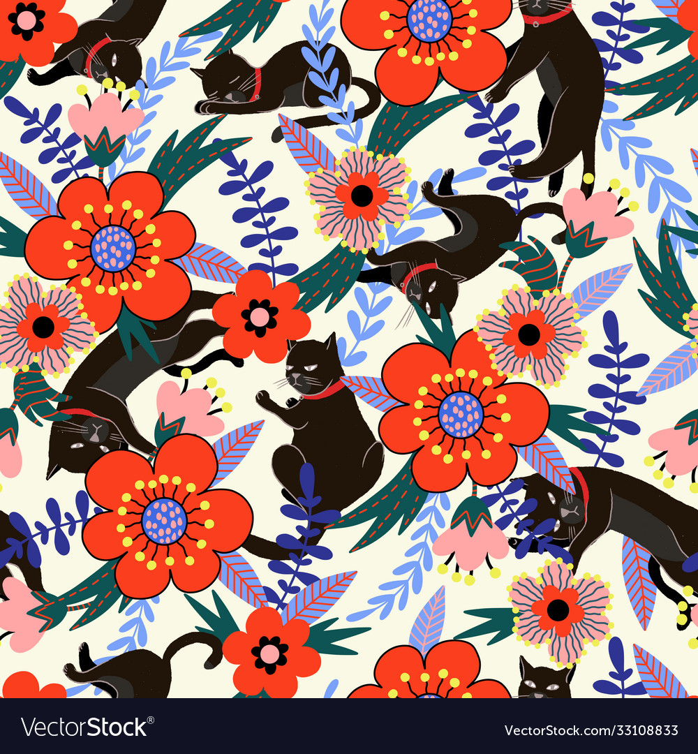 Seamless pattern with black cats and flowers