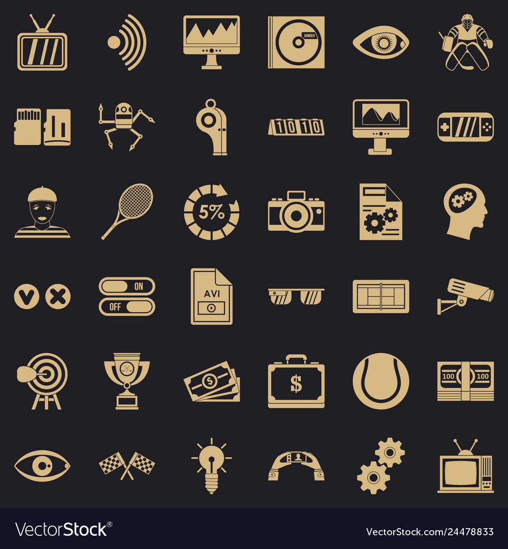 Video file icons set simple style