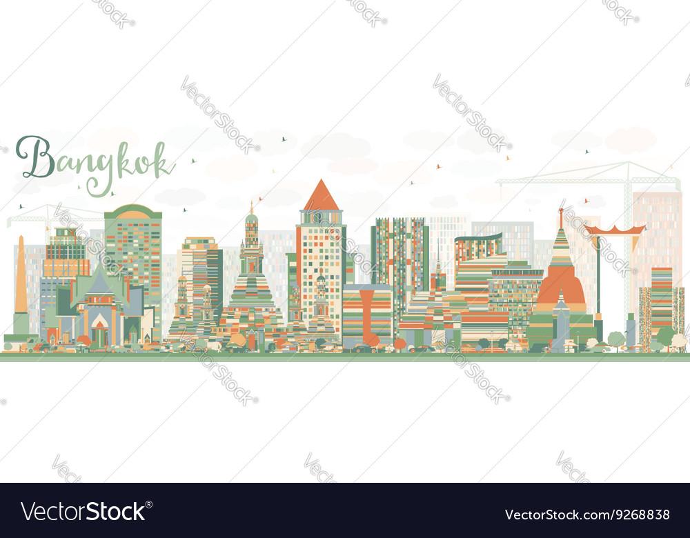 Abstract Bangkok Skyline with Color Landmarks