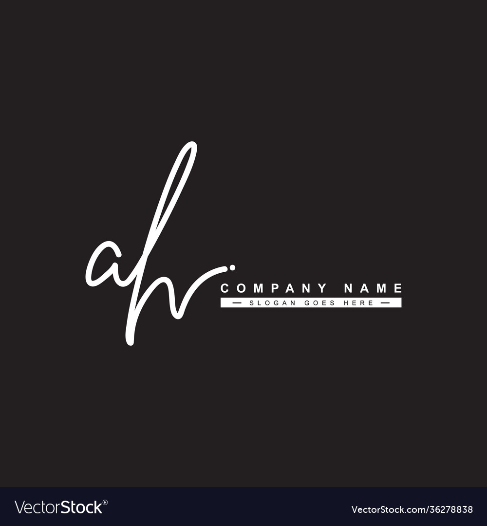 Ah initial letter signature logo