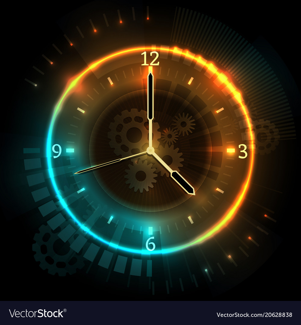 digital futuristic watch with neon effects time vector image