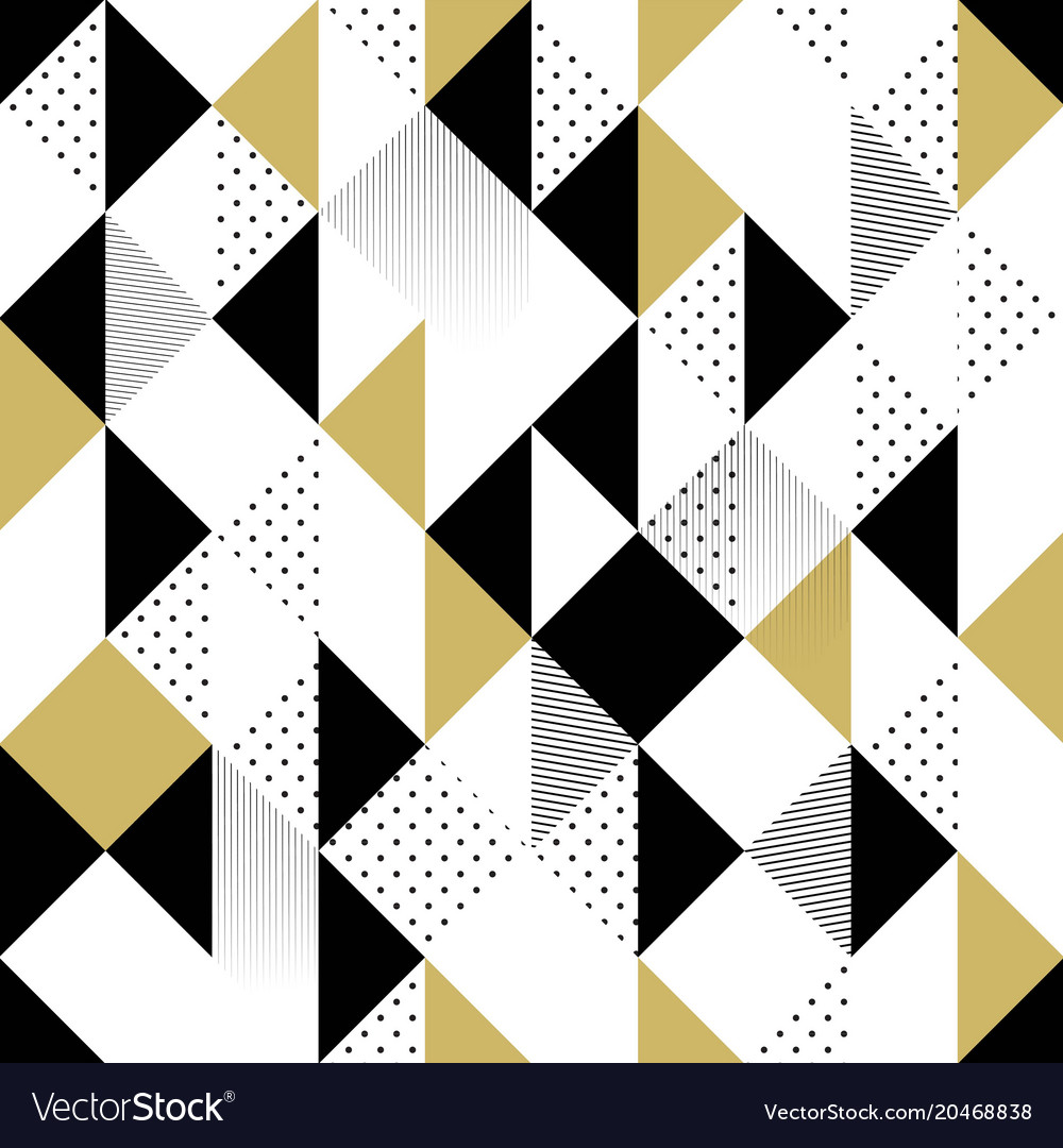 Gold black and white seamless triangle pattern