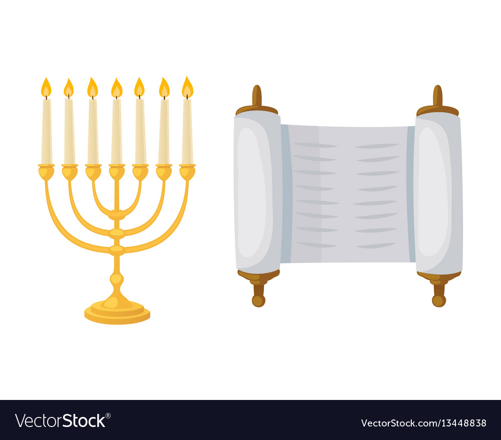 Golden jew menorah with candles hebrew religion