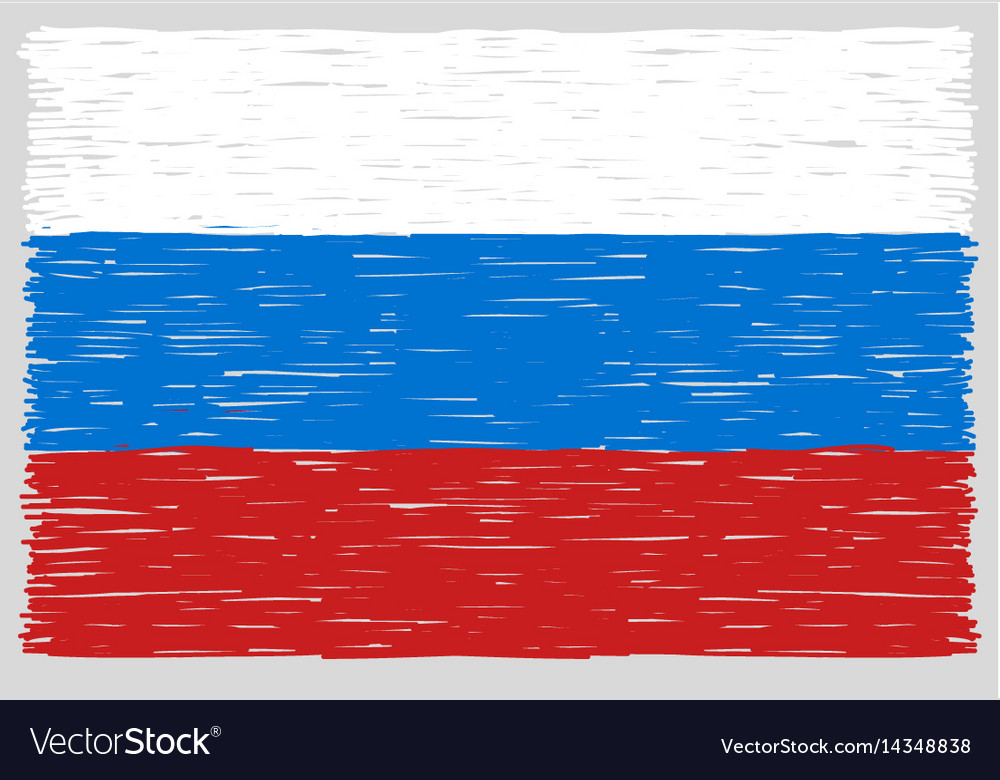 Hand drawn russian flag
