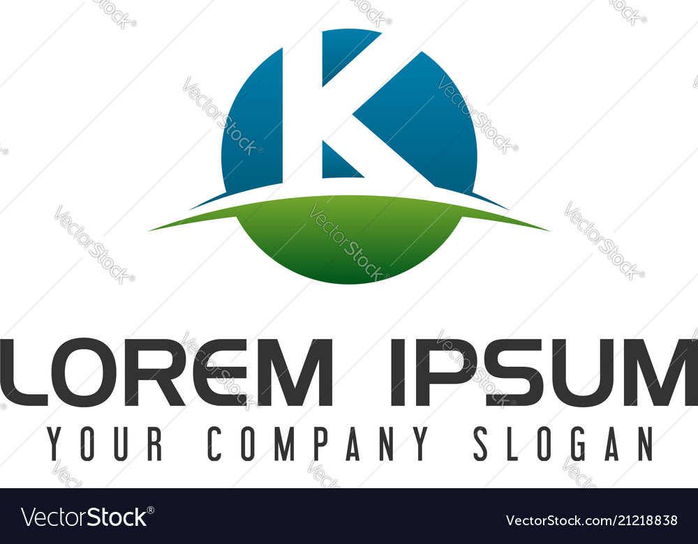 Letter k circle logo design concept template