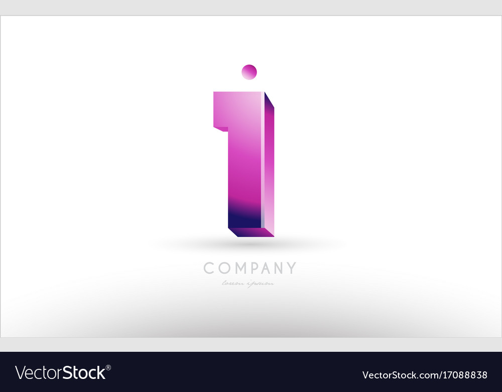 Number 1 one black white pink logo icon design