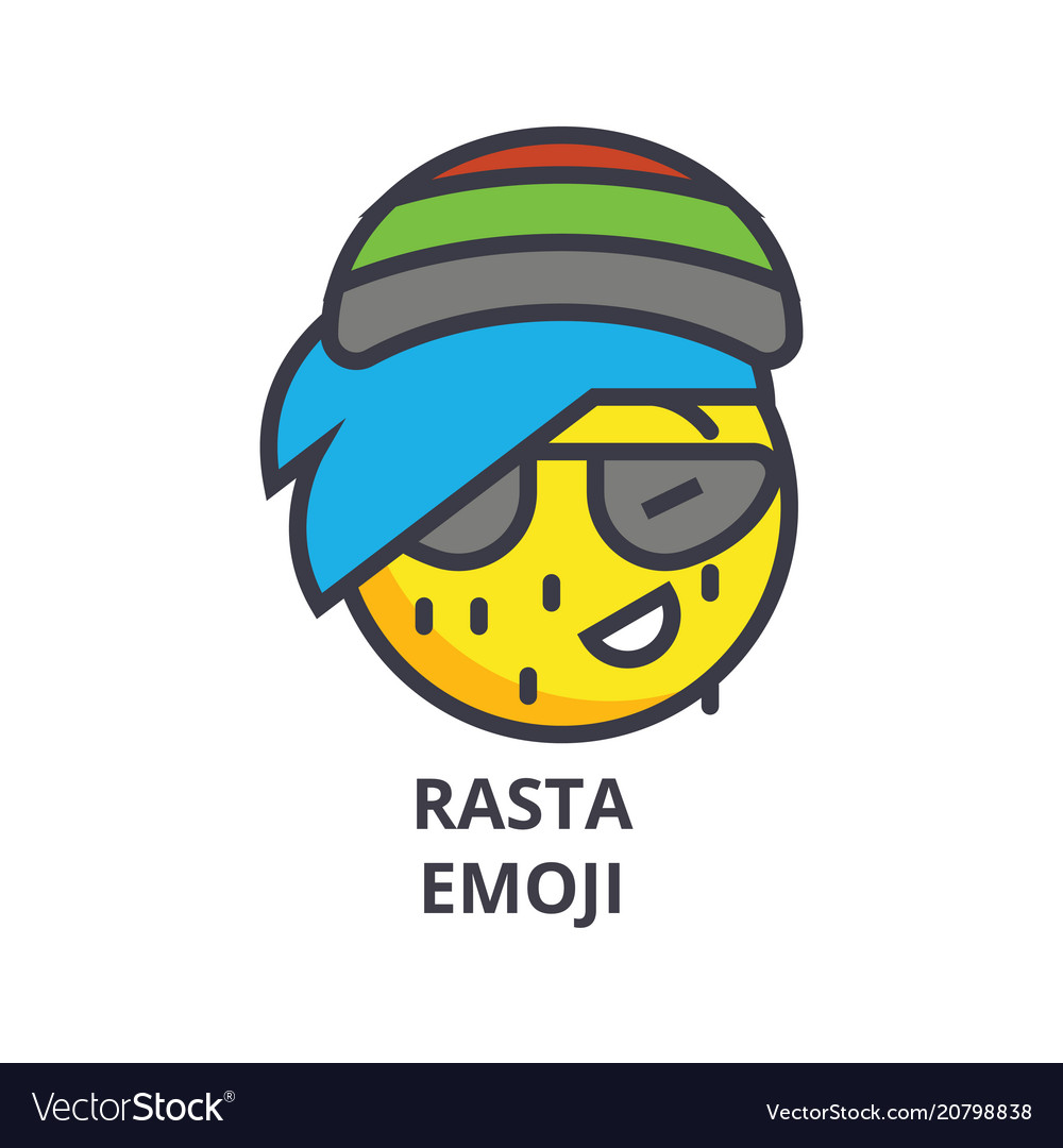Rasta emoji line icon sign