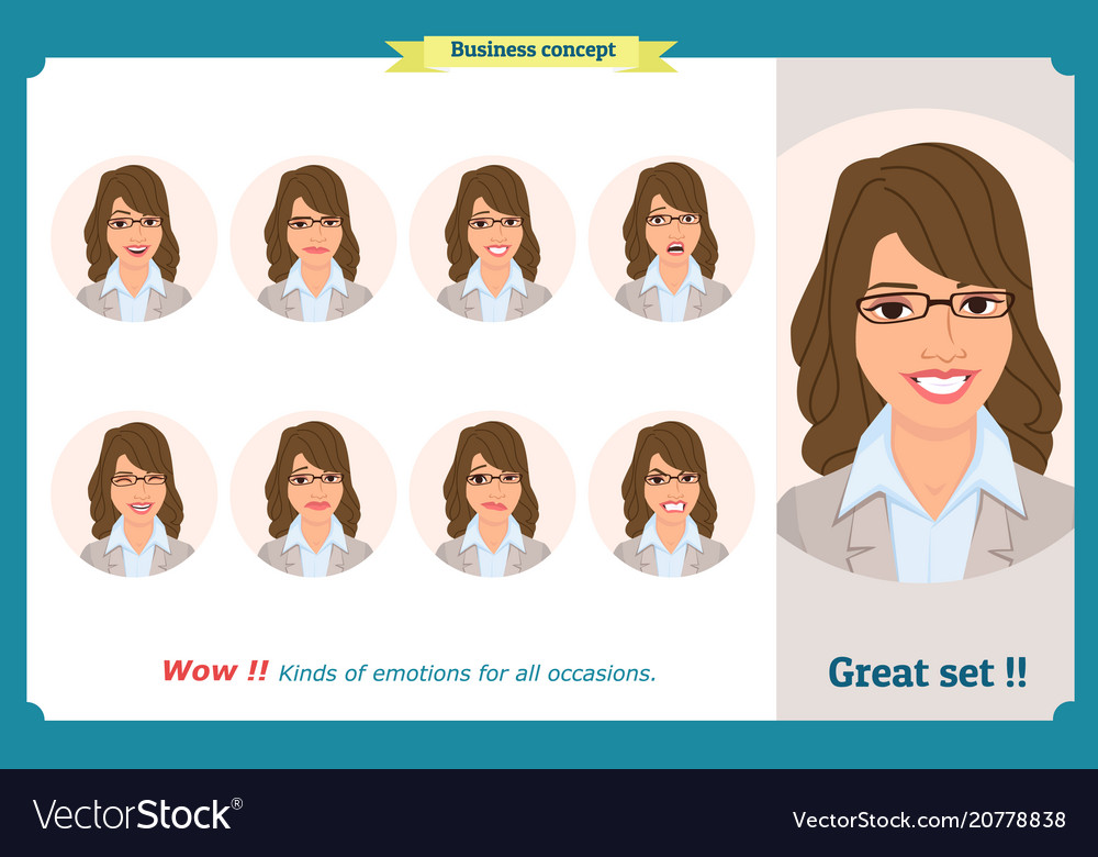 Set of woman expression isolated on white flat