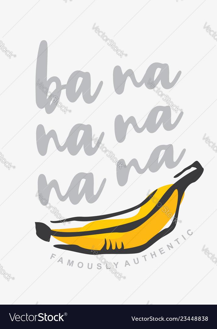 Tee shirt print template with yellow banana