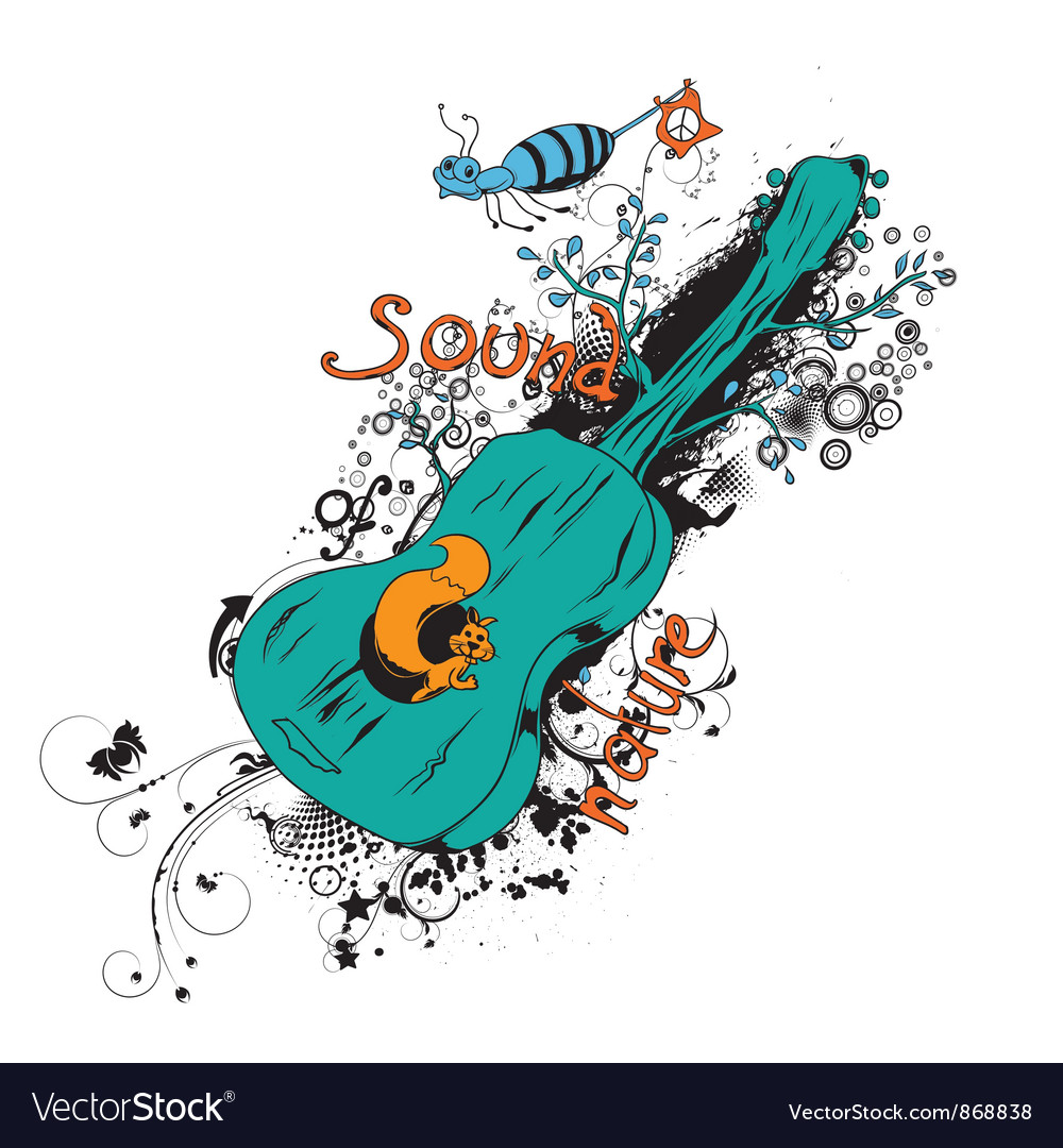 Vintage t-shirt design with guitar vector image