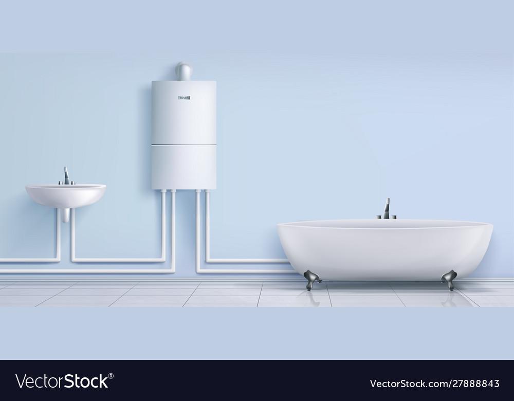 Bathroom Boiler Water Heater Washbasin And Tub Vector Image