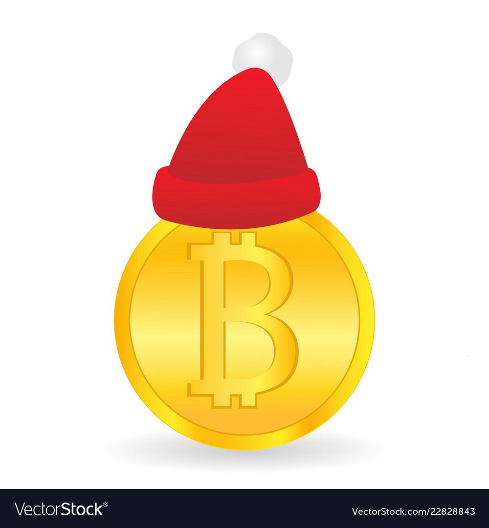 9c5049611f3a2 Bitcoin and santa claus hat gift from santa Vector Image