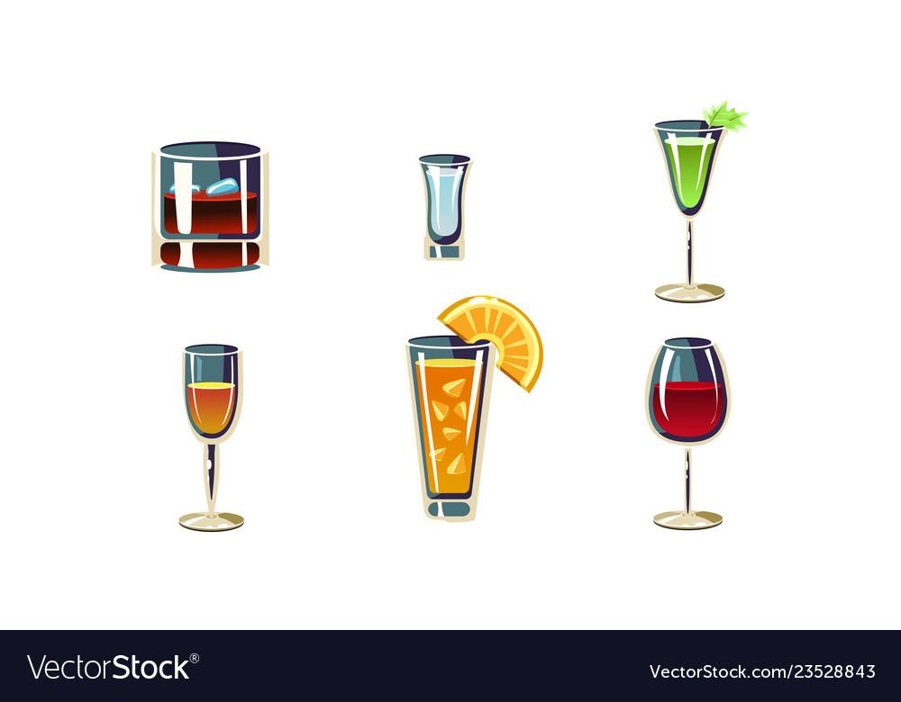 Cartoon set of alcoholic drinks in