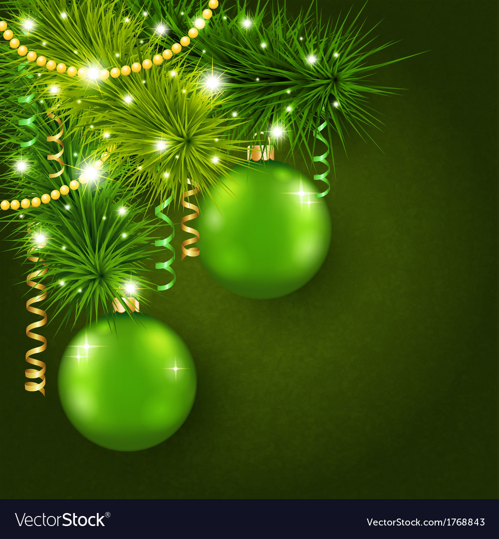 Christmas tree decorated with green balls