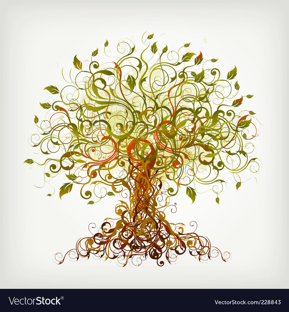 Curly tree vector image