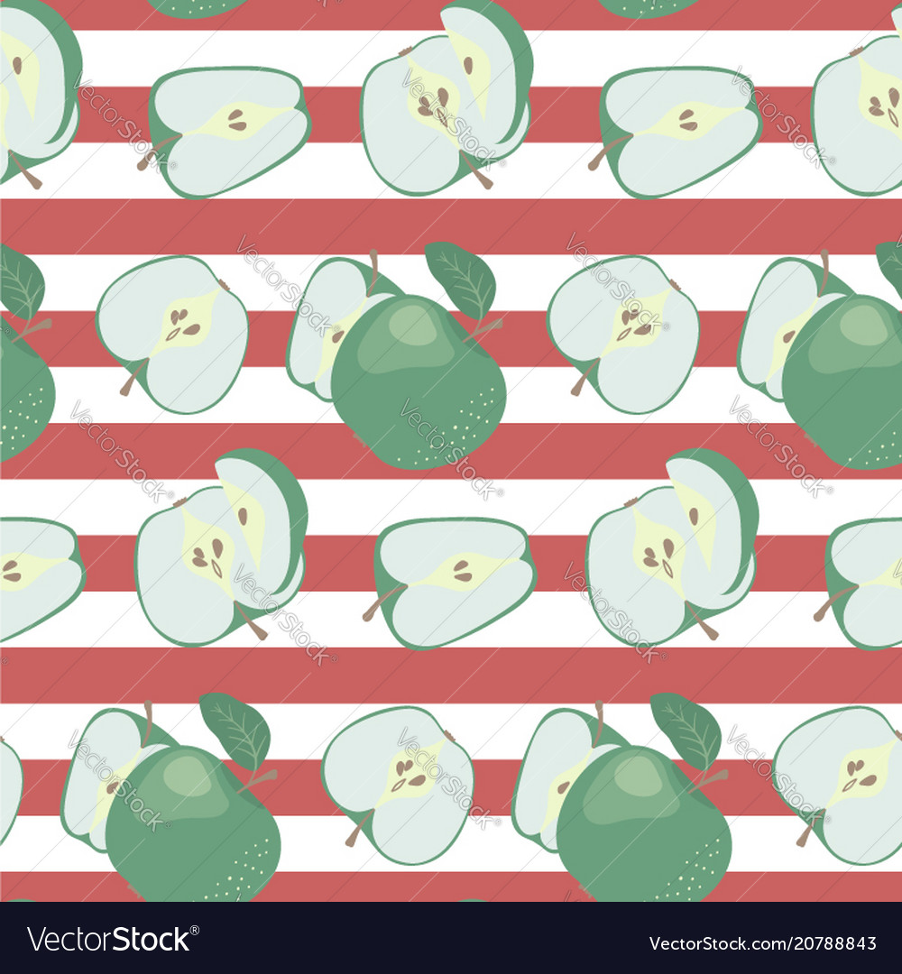 Fresh green apples on a striped red and white