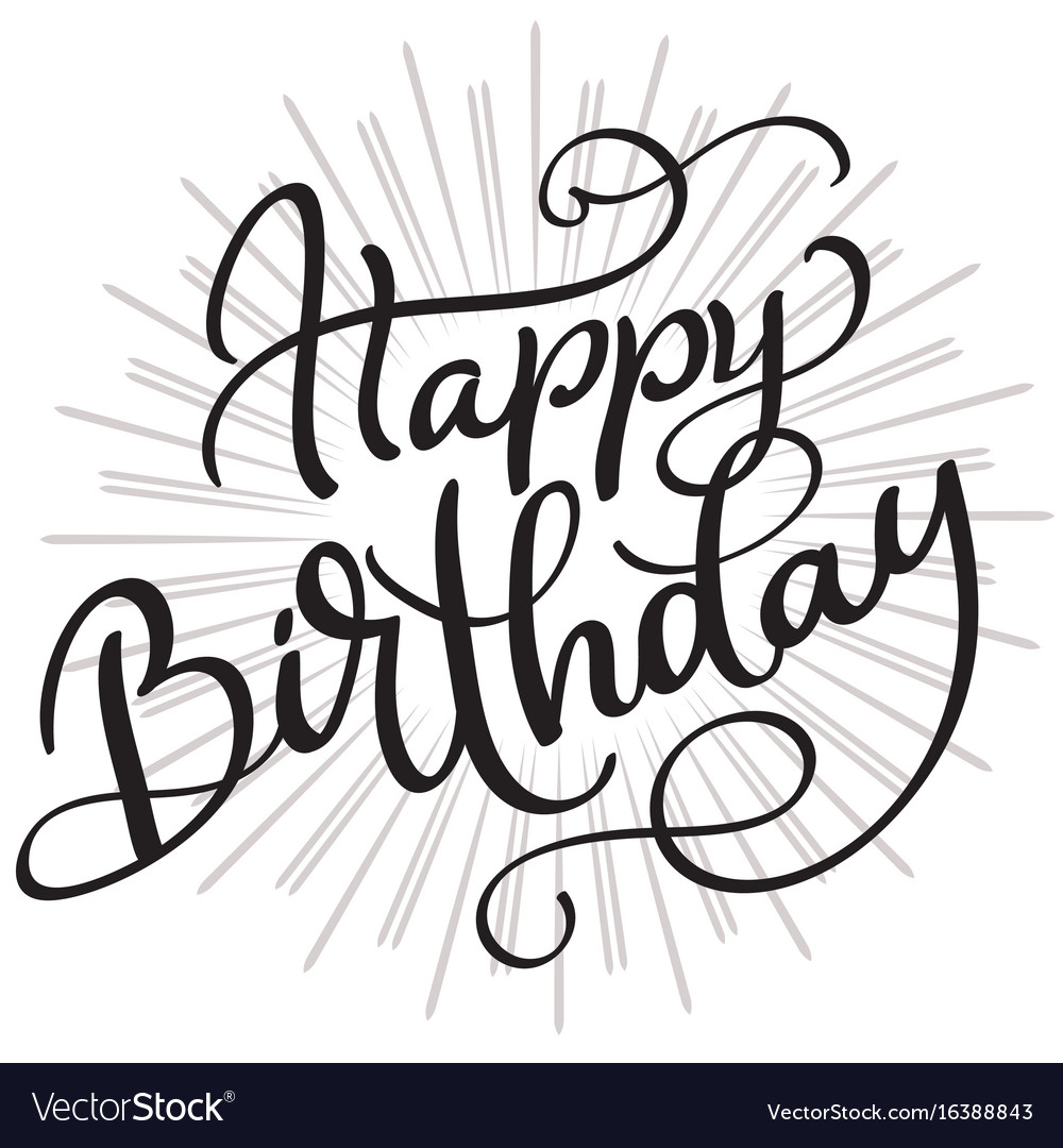 happy birthday words on white background hand vector image