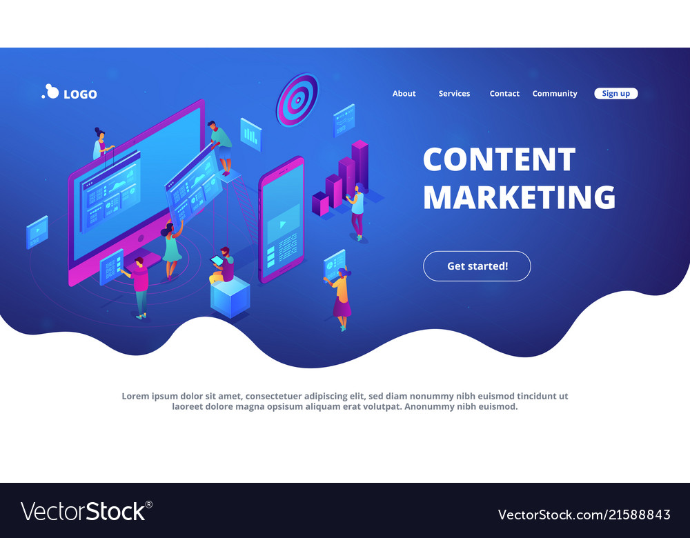 Isometric content marketing landing page