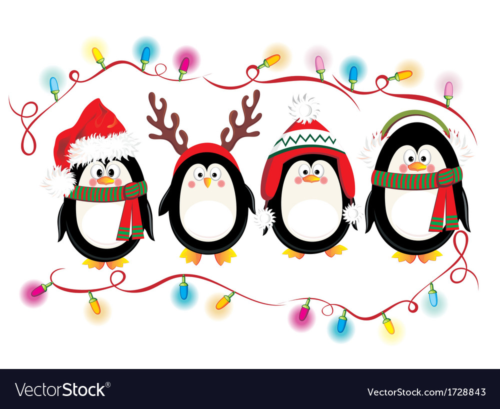 merry christmas card with penguins royalty free vector image
