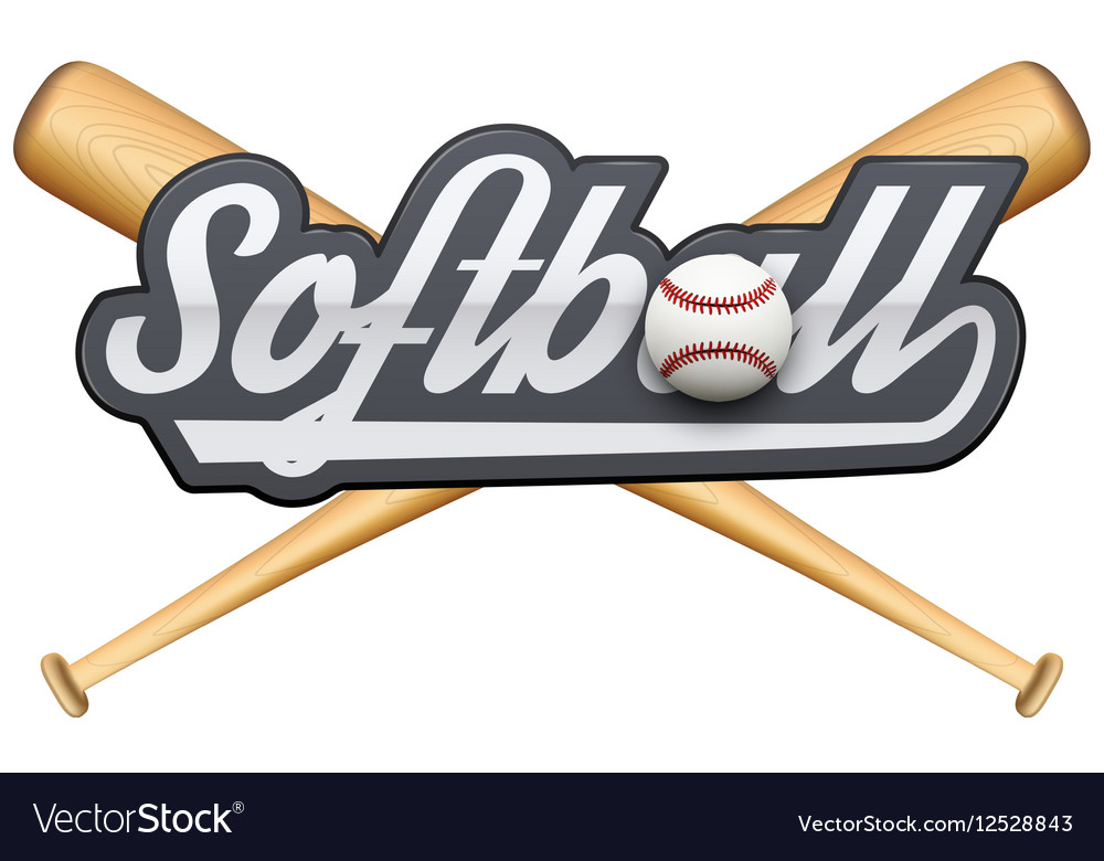 Softball symbol with tag and wooden bats vector image